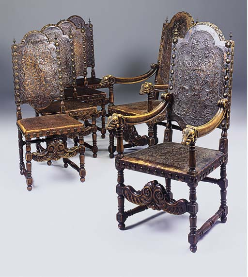 A SET OF SIX STAINED BEECH AND
