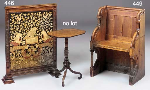 A WALNUT AND NEEDLEWORK FIRE S