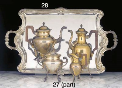 A Four-Piece French Silver-Gil