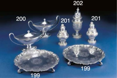 A Pair of George II Silver Tea