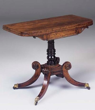 A Regency rosewood card table