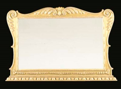 AN EDWARDIAN GILTWOOD OVERMANT