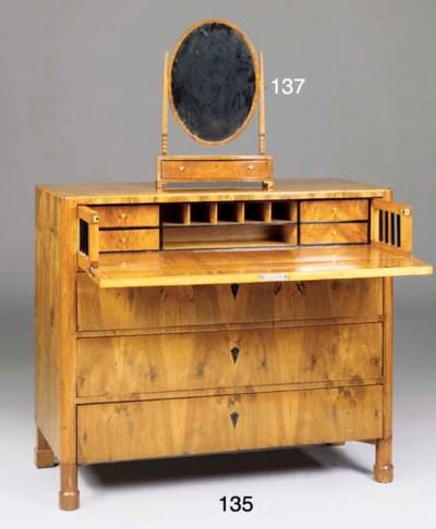 A Biedermeier birch secretaire