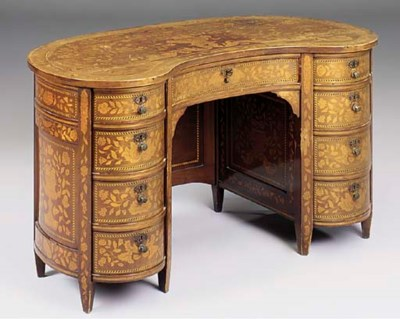 A mahogany and Dutch marquetry