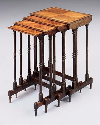 A SET OF TULIPWOOD, ROSEWOOD A