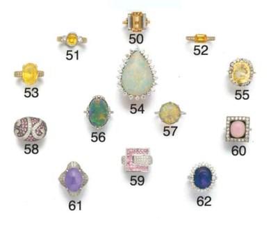 An opal single stone ring,