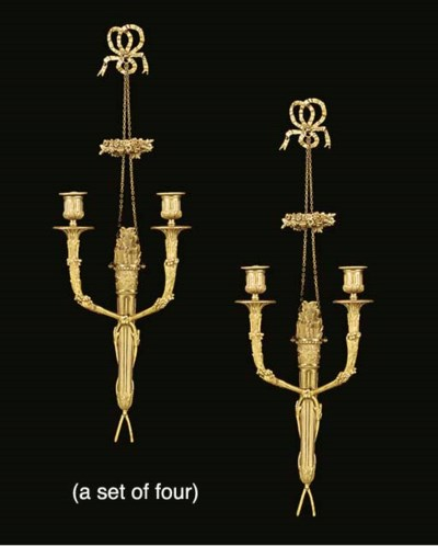 A set of four ormolu twin ligh