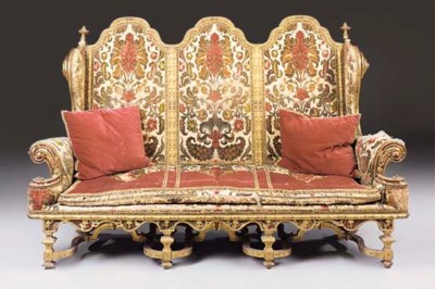 A GILTWOOD UPHOLSTERED TRIPLE