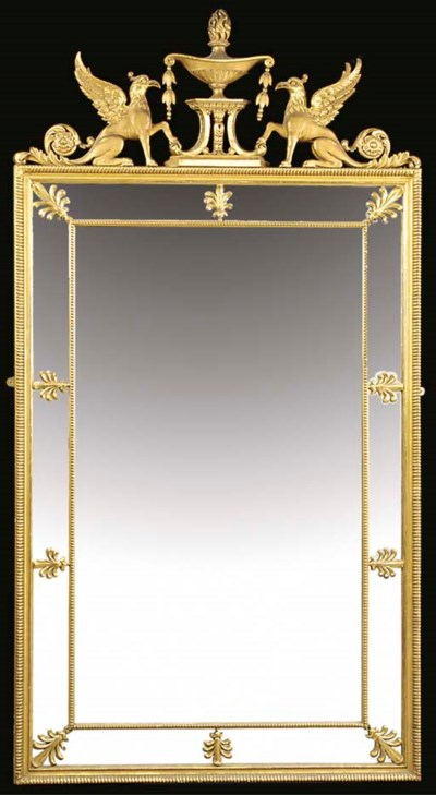 A CARVED GILTWOOD PIER MIRROR