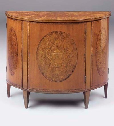 A SATINWOOD AND MARQUETRY DEMI