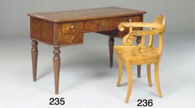 An Italian birch desk chair