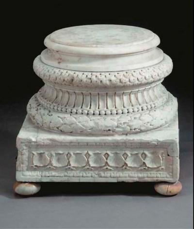 An Italian carved marble colum