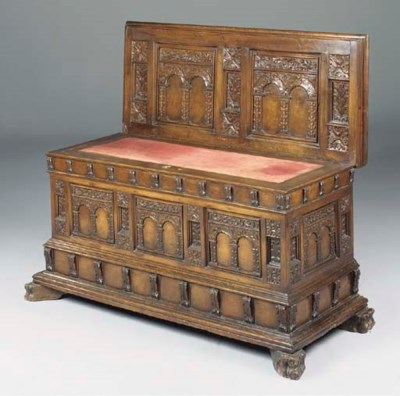 A SPANISH CARVED WALNUT CHEST