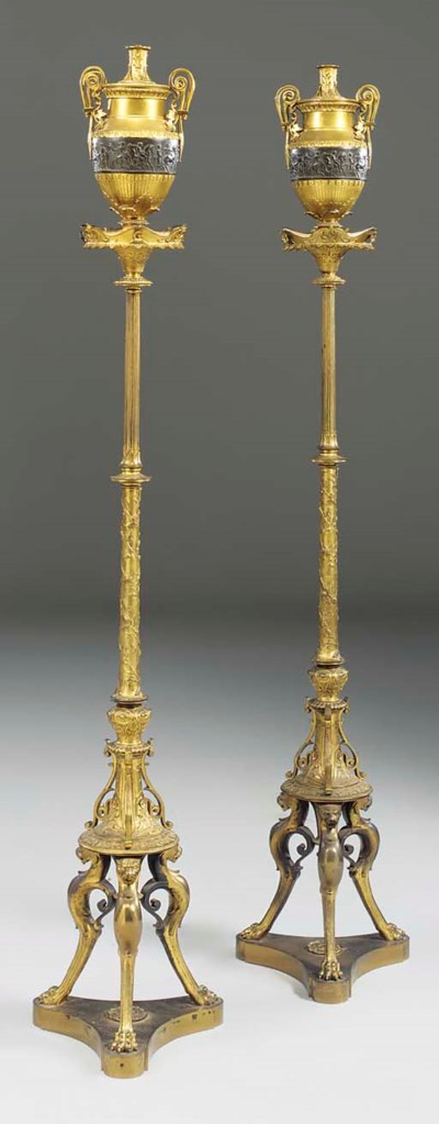 A pair of Italian gilt and pat