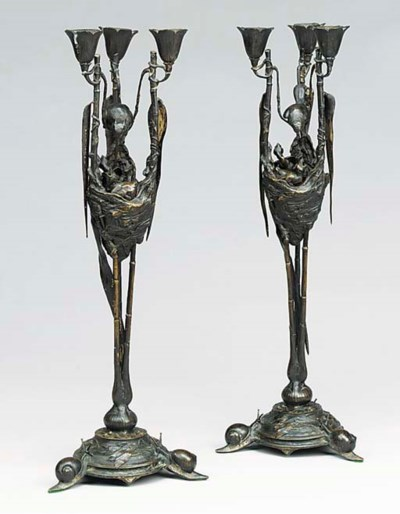 A pair of French bronze candel