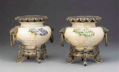 A pair of Napoleon III onyx, o