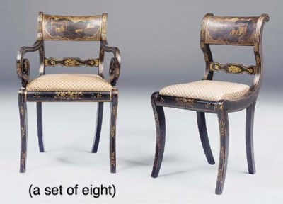 A set of eight Regency black a
