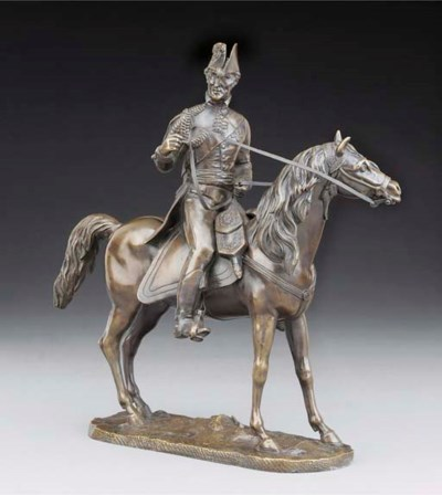 A bronze equestrian group of t