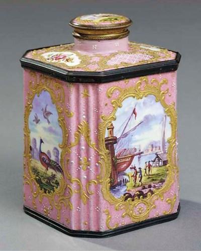 A Staffordshire enamel tea cad