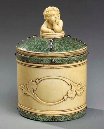 An ivory and shagreen tea cadd