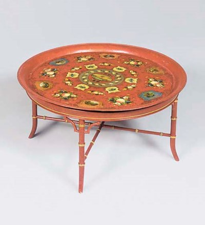 A japanned iron tray