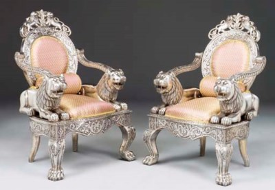 A PAIR OF INDIAN SILVER MOUNTE