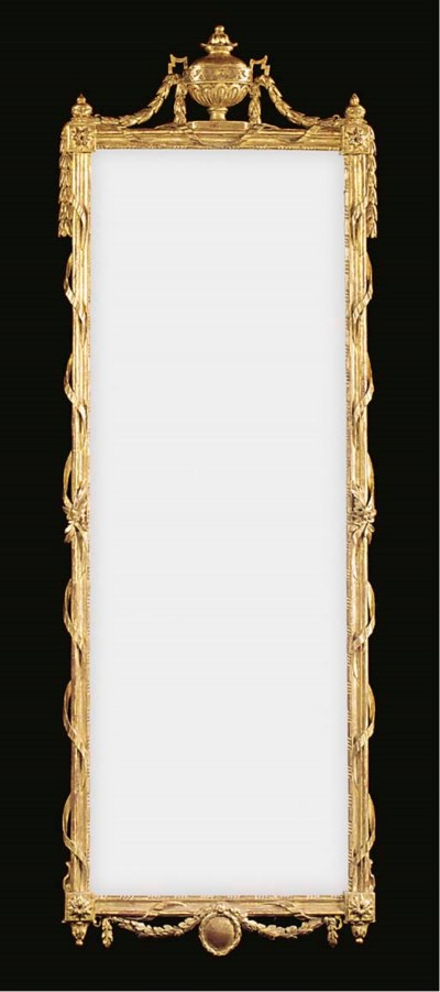 A FRENCH GILTWOOD PIER GLASS
