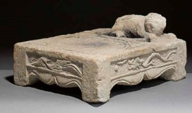A Chinese marble inkstone, probably Tang Dynasty