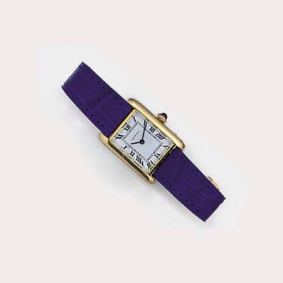 A lady's Cartier gold tank wri
