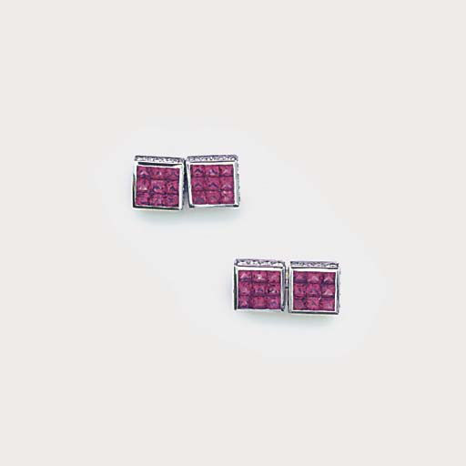 A pair of ruby and diamond cuf