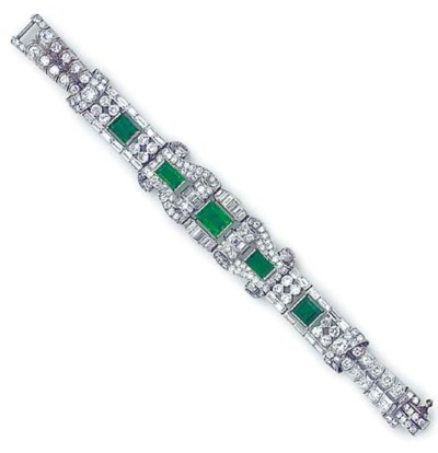 A platinum, emerald and diamon