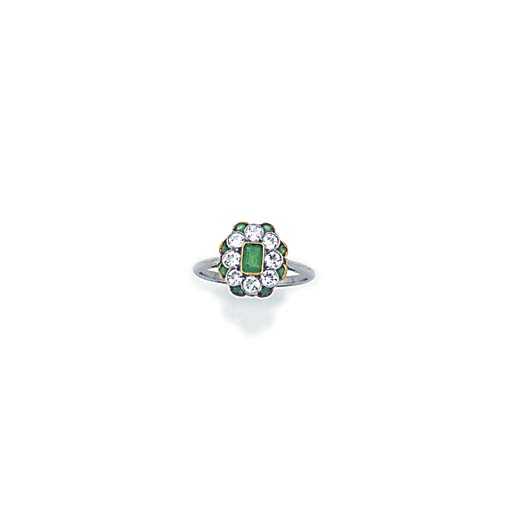 An Edwardian, diamond and emer