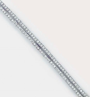 A diamond twin line bracelet,