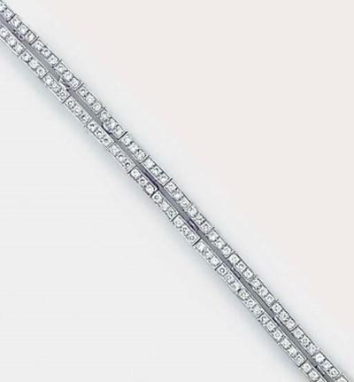 A diamond twin line bracelet,