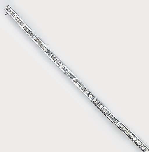 A baguette diamond line bracel