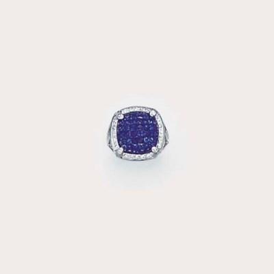 A sapphire and diamond cushion