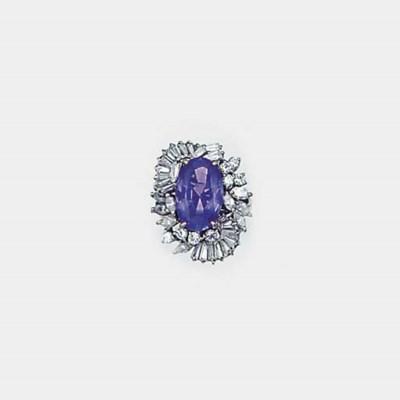 A sapphire, diamond and baguet