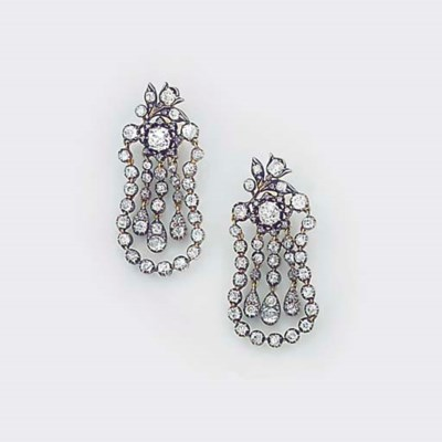 A pair of diamond drop earring