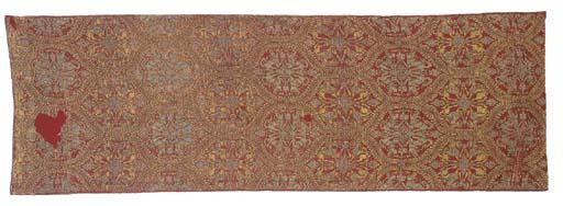 A length of silk lampas, woven