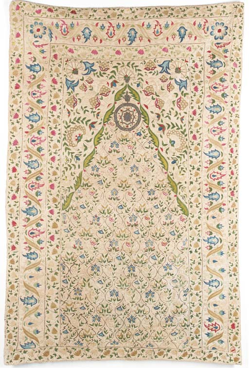 A quilted prayer hanging, embr