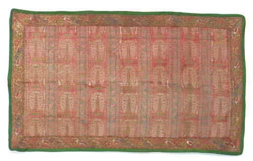 A panel of salmon pink silk, w