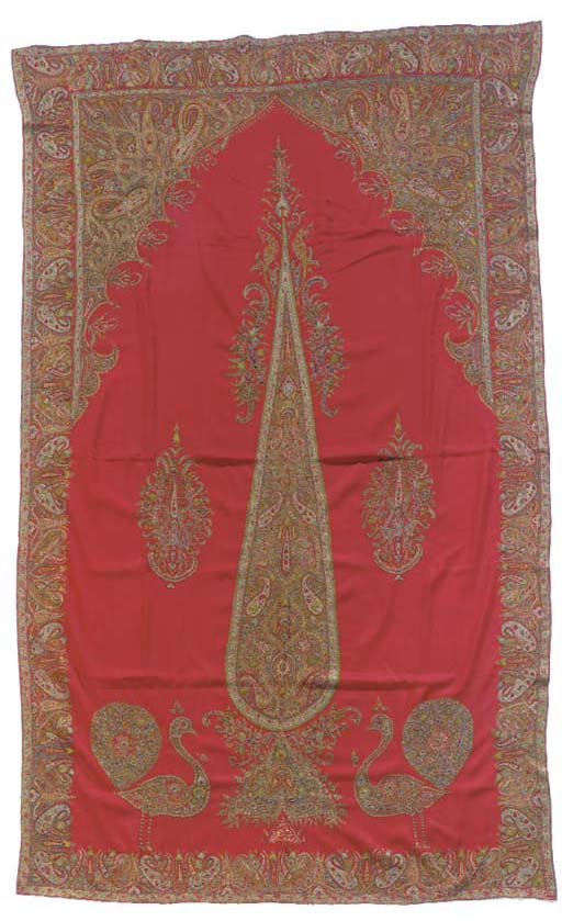 A prayer hanging of red merino