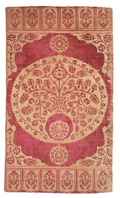 A velvet yastik, the soft red