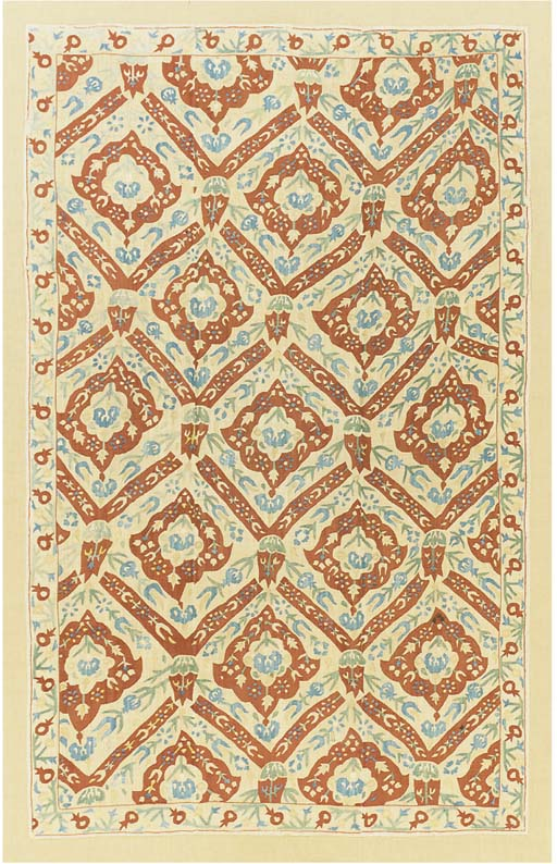 An embroidered linen cover, wo