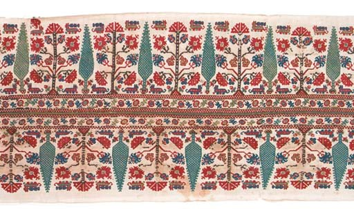 A joined embroidered border, t