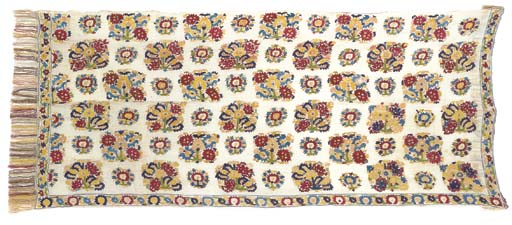 An embroidered mattress cover,