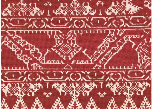 An embroidered valence, the gr