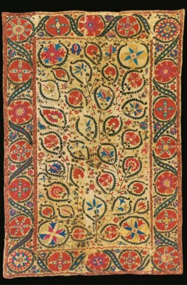 A susani, embroidered in silks