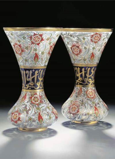 A pair of Lobmeyer enamelled a