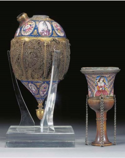 A Persian enamelled and gilt h